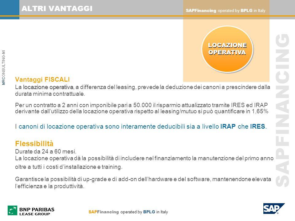 ALTRI VANTAGGI SAPFinancing operated by BPLG in Italy. LOCAZIONE. OPERATIVA.