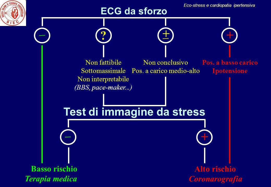 + + + Test di immagine da stress ECG da sforzo Basso rischio
