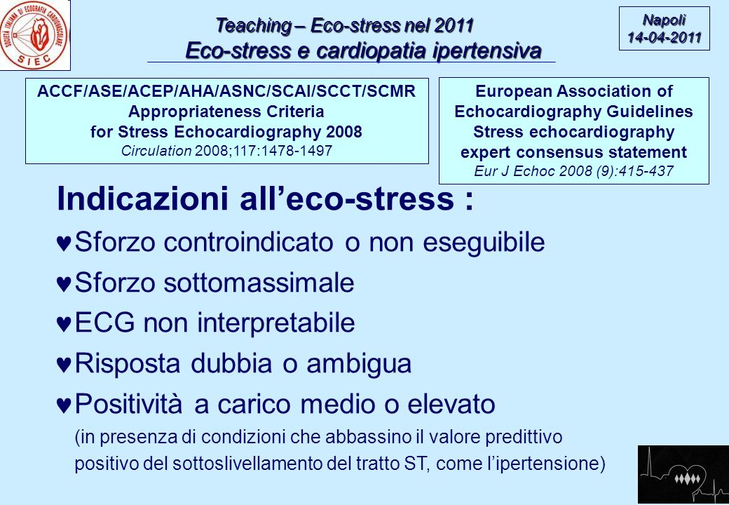 Indicazioni all'eco-stress :