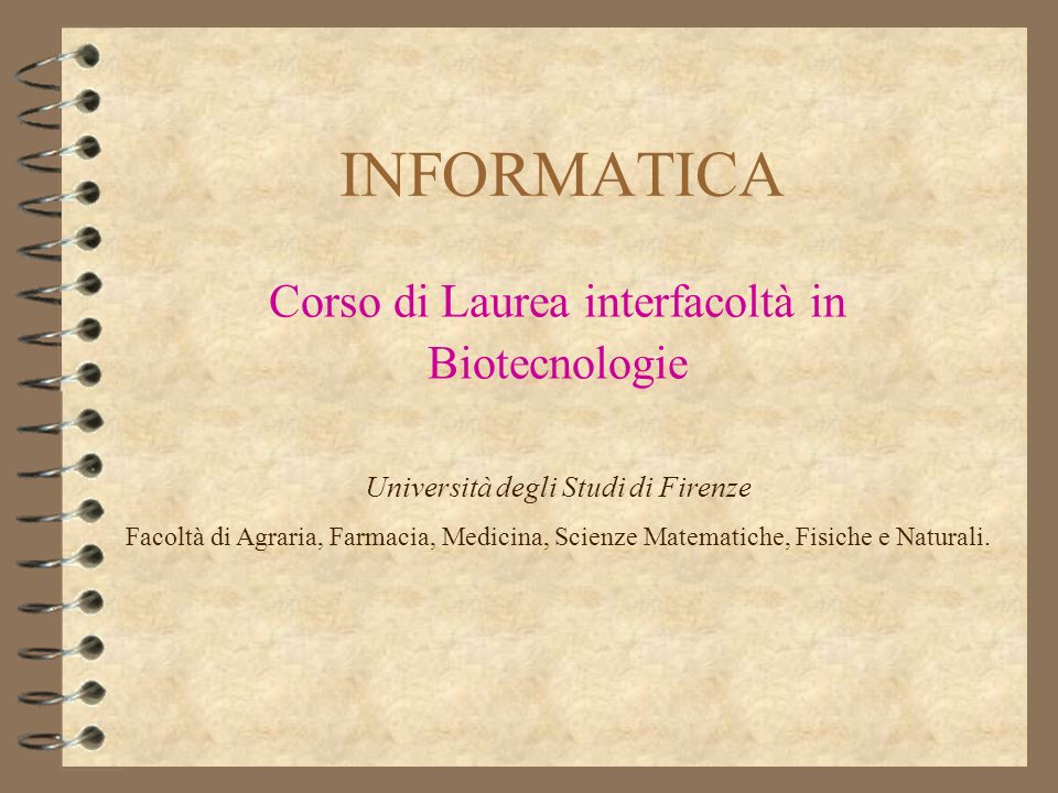 Corso di Laurea interfacoltà in Biotecnologie