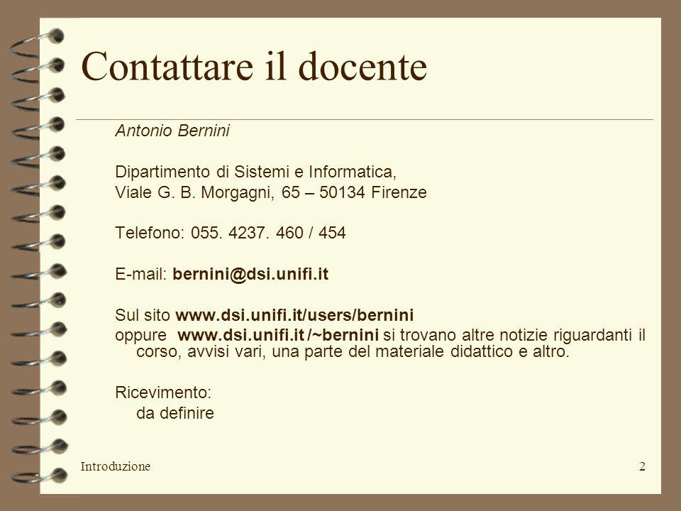 Contattare il docente Antonio Bernini