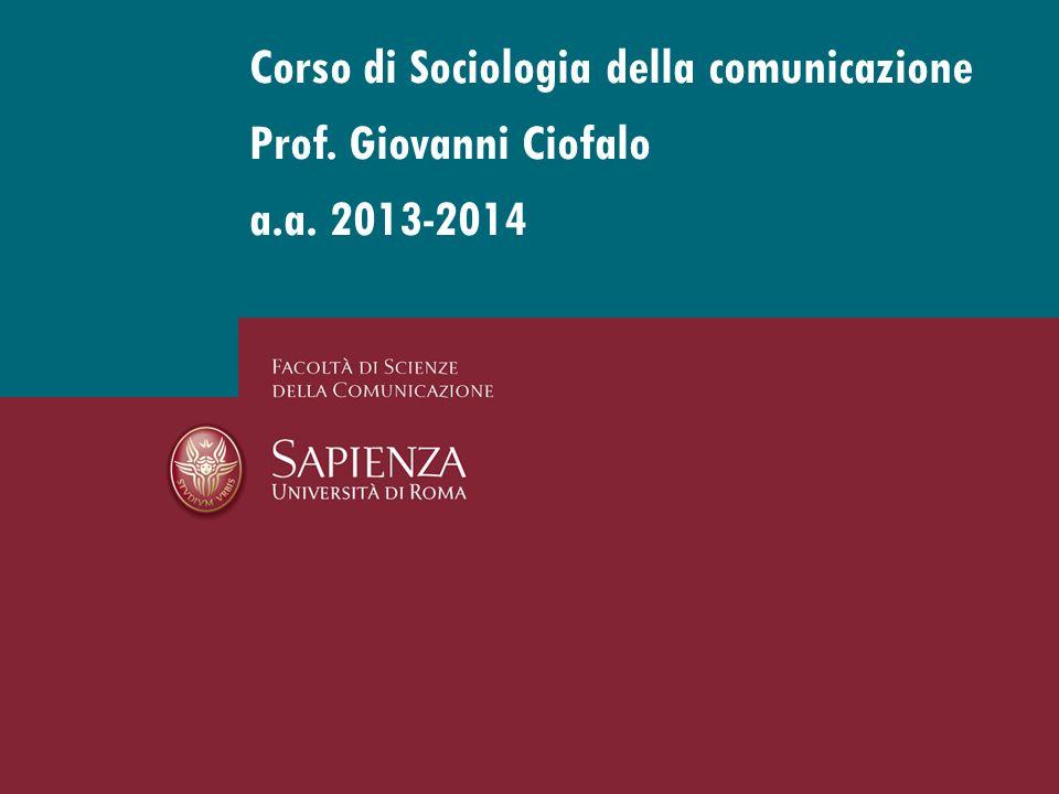 Corso di Sociologia della comunicazione