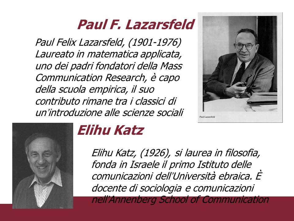 Paul F. Lazarsfeld Elihu Katz Paul Felix Lazarsfeld, (1901-1976)