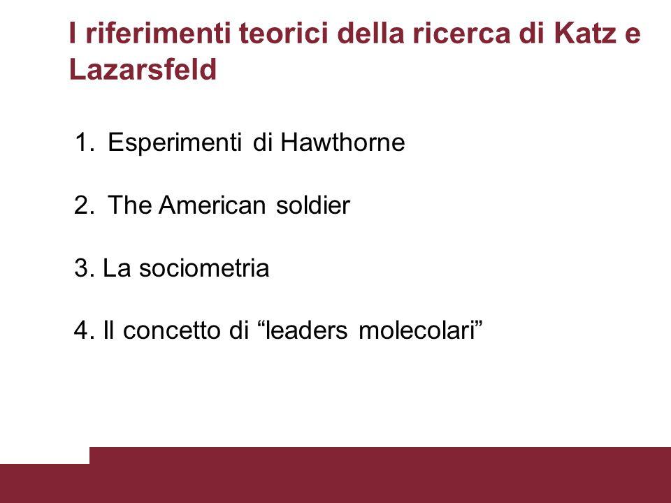 I riferimenti teorici della ricerca di Katz e Lazarsfeld