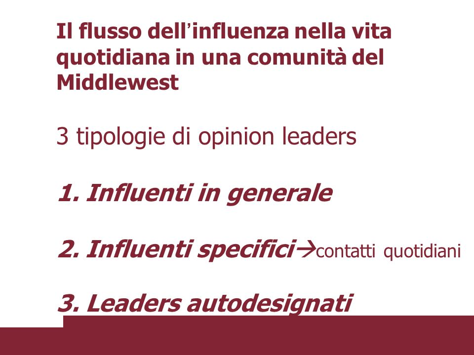 3 tipologie di opinion leaders 1. Influenti in generale