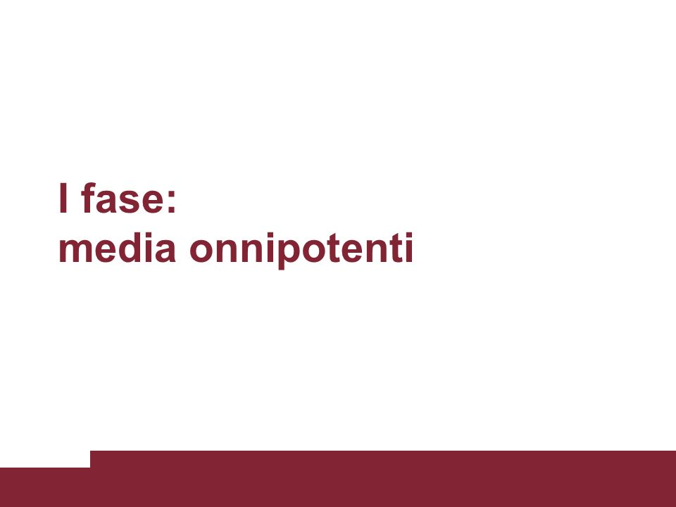 I fase: media onnipotenti