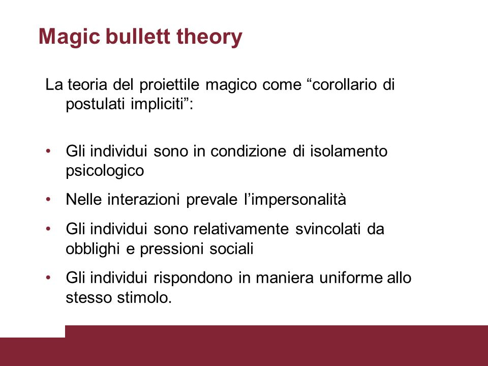 Magic bullett theory La teoria del proiettile magico come corollario di postulati impliciti :
