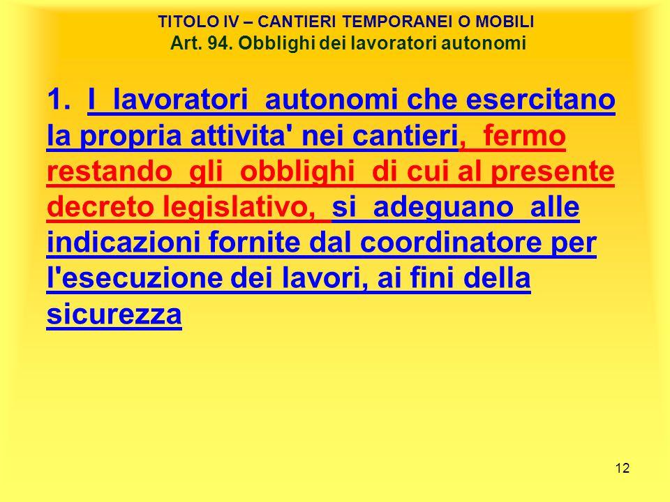 TITOLO IV – CANTIERI TEMPORANEI O MOBILI Art. 94