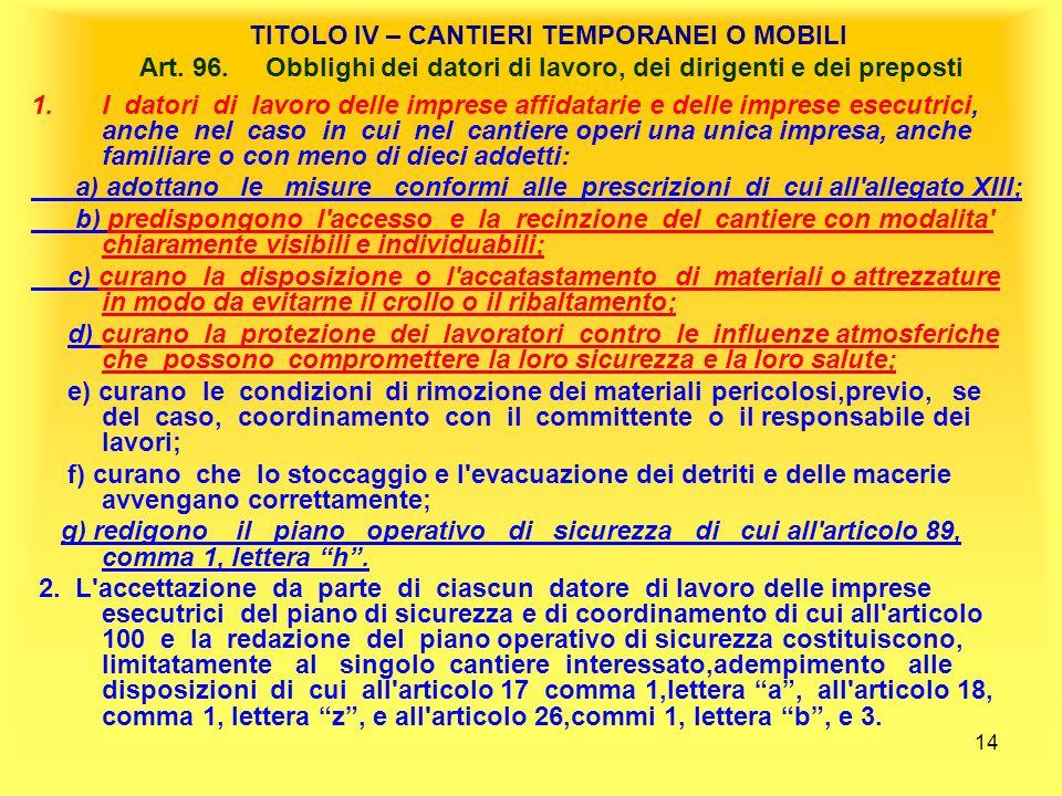 TITOLO IV – CANTIERI TEMPORANEI O MOBILI Art. 96