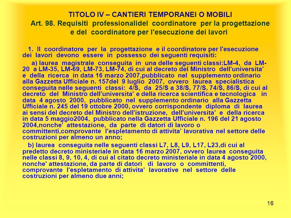 TITOLO IV – CANTIERI TEMPORANEI O MOBILI Art. 98
