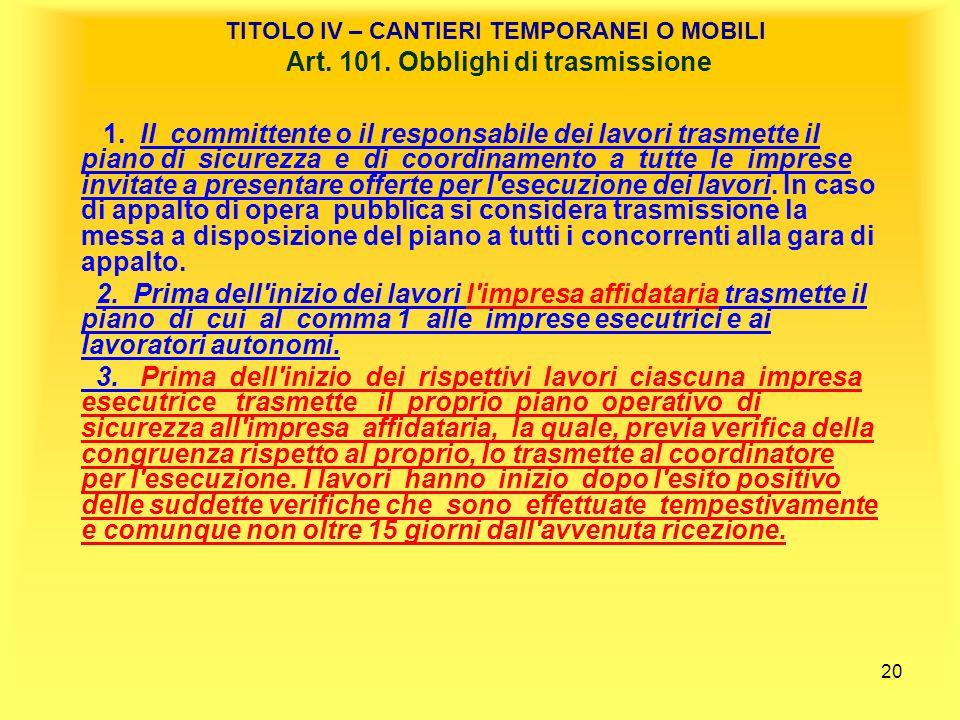 TITOLO IV – CANTIERI TEMPORANEI O MOBILI Art. 101