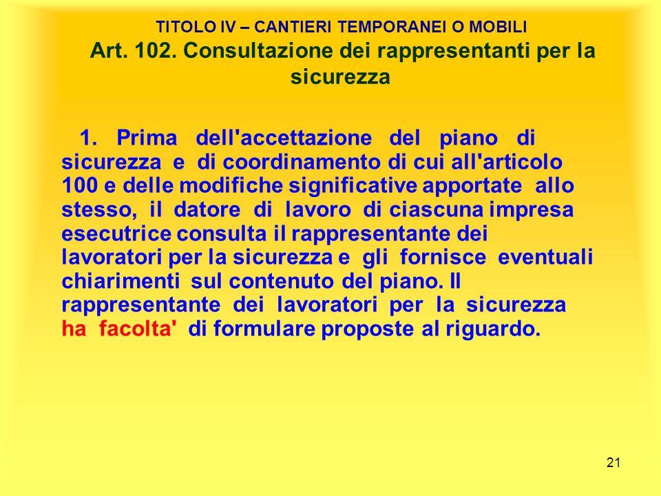TITOLO IV – CANTIERI TEMPORANEI O MOBILI Art. 102
