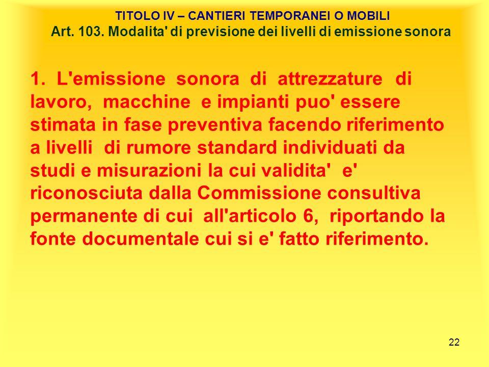 TITOLO IV – CANTIERI TEMPORANEI O MOBILI Art. 103