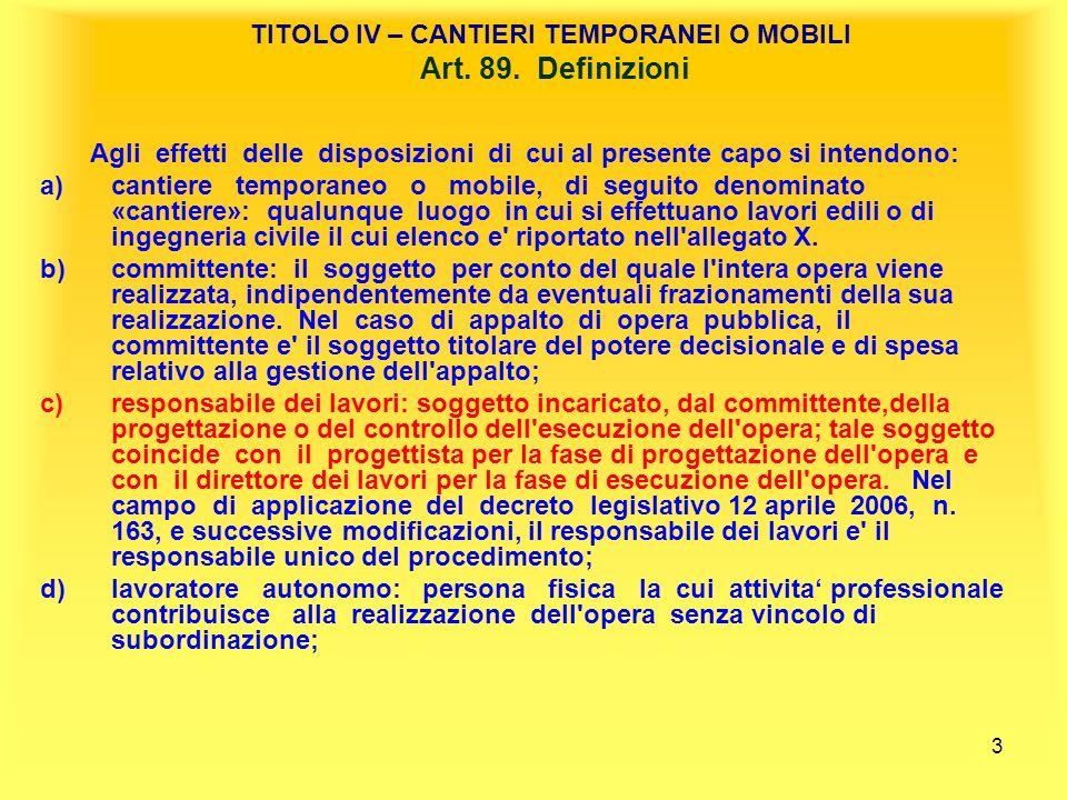 TITOLO IV – CANTIERI TEMPORANEI O MOBILI Art. 89. Definizioni