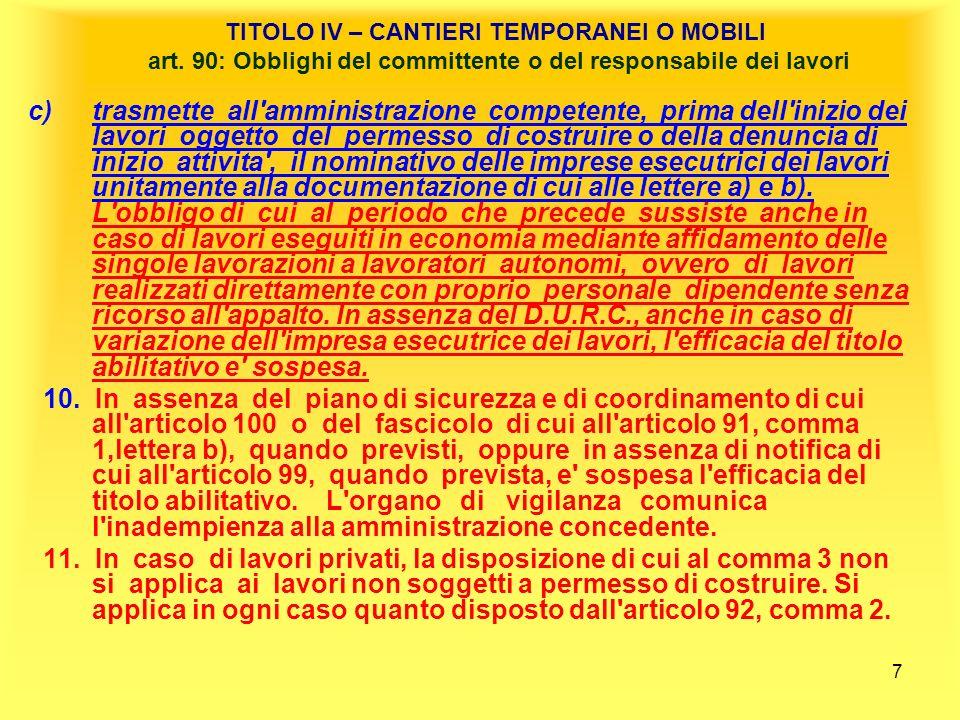 TITOLO IV – CANTIERI TEMPORANEI O MOBILI art