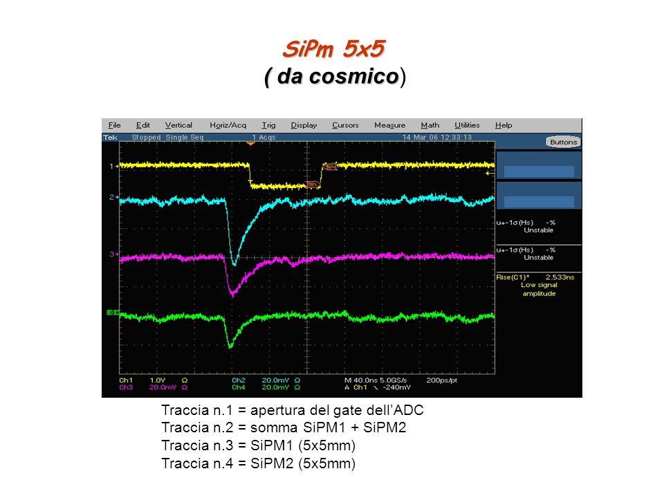 SiPm 5x5 ( da cosmico) Traccia n.1 = apertura del gate dell'ADC