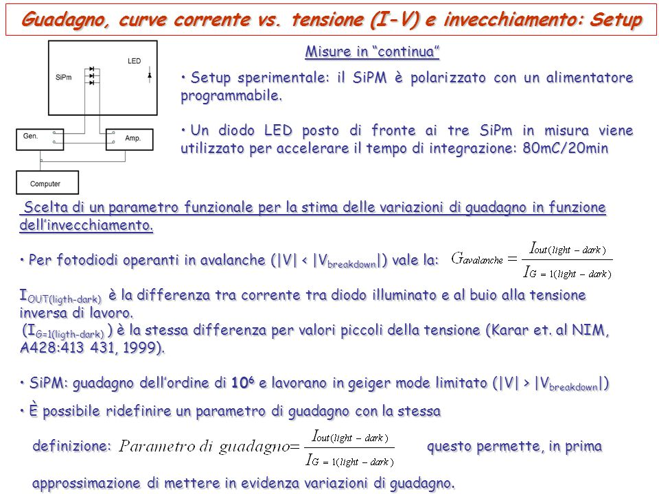 Guadagno, curve corrente vs. tensione (I-V) e invecchiamento: Setup