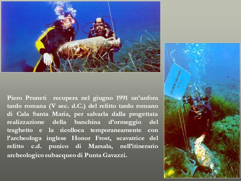 Piero Pruneti recupera nel giugno 1991 un'anfora tardo romana (V sec.