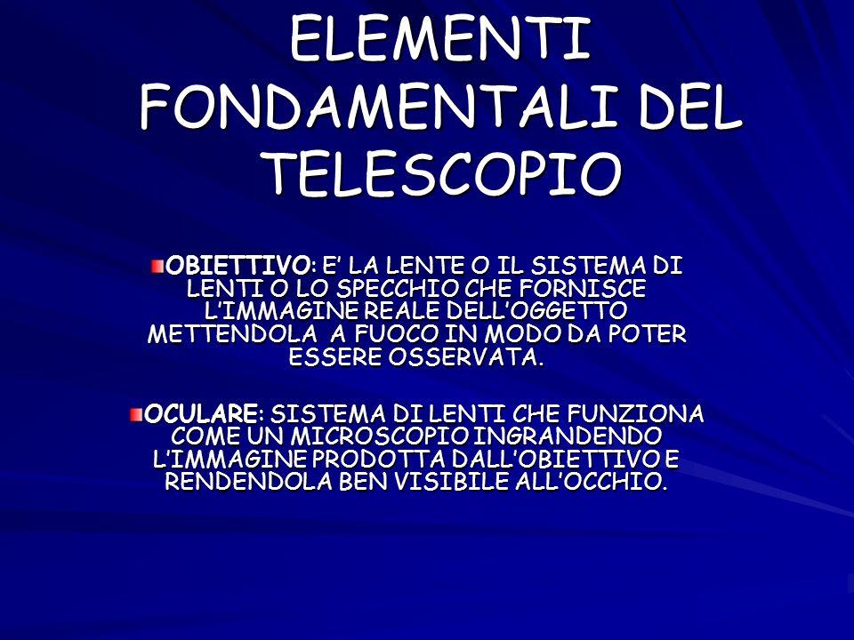 ELEMENTI FONDAMENTALI DEL TELESCOPIO