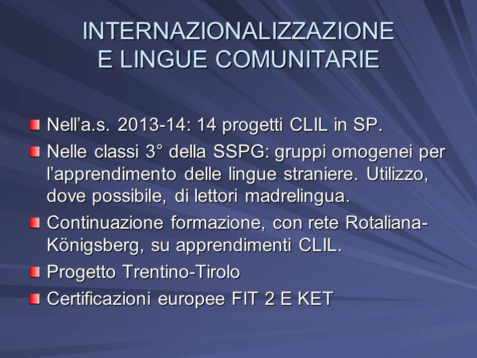 INTERNAZIONALIZZAZIONE E LINGUE COMUNITARIE