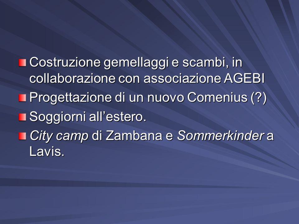 Costruzione gemellaggi e scambi, in collaborazione con associazione AGEBI