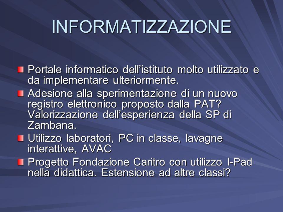 INFORMATIZZAZIONE Portale informatico dell'istituto molto utilizzato e da implementare ulteriormente.
