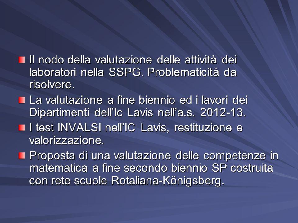 Il nodo della valutazione delle attività dei laboratori nella SSPG
