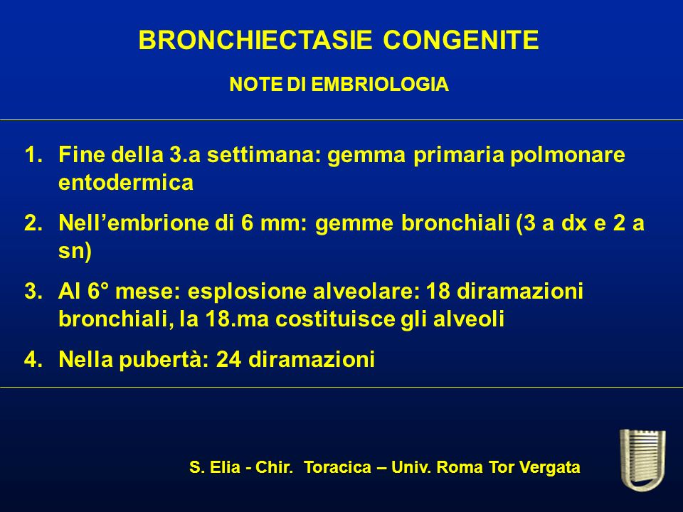 BRONCHIECTASIE CONGENITE