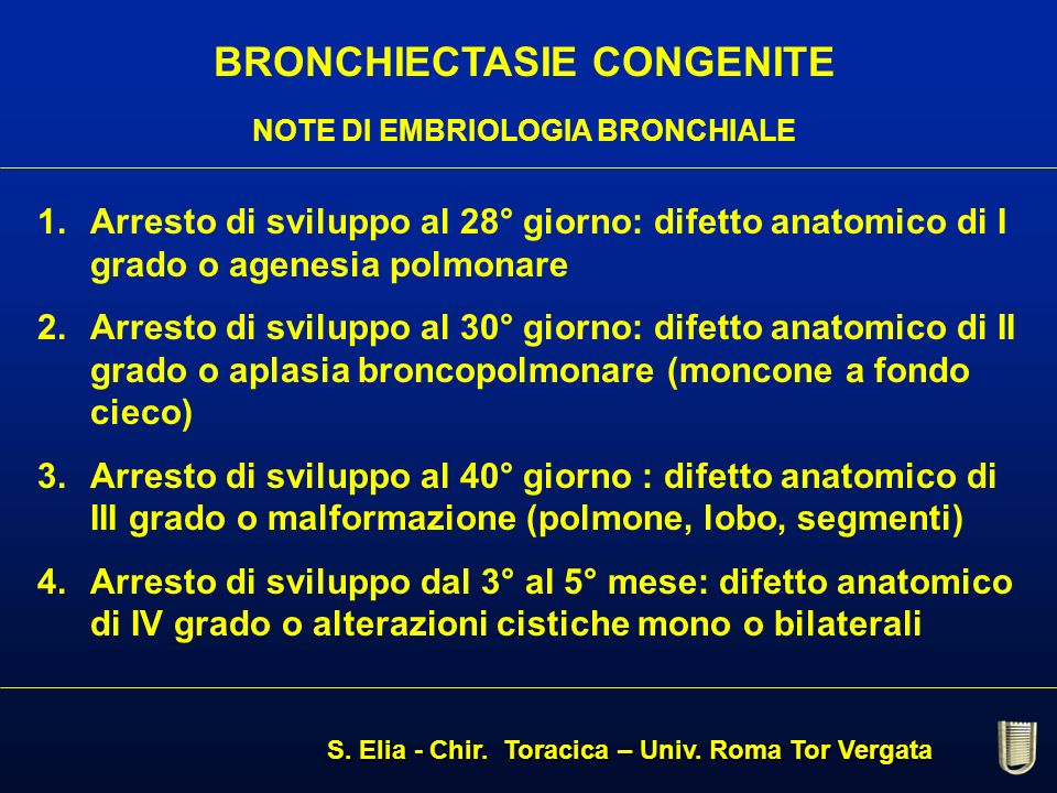 BRONCHIECTASIE CONGENITE NOTE DI EMBRIOLOGIA BRONCHIALE