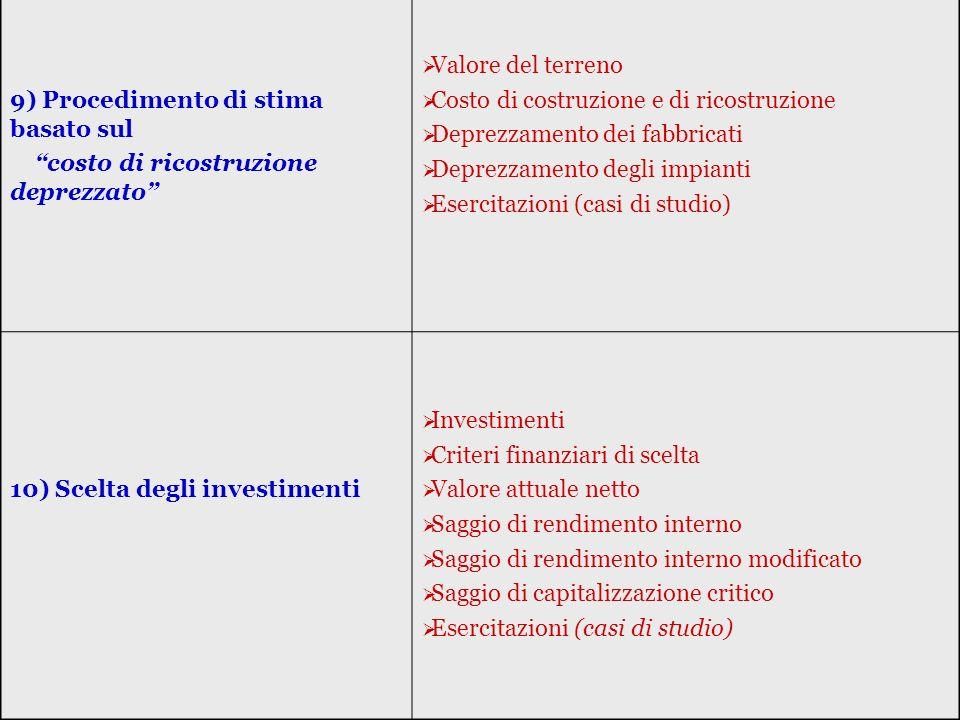 9) Procedimento di stima basato sul