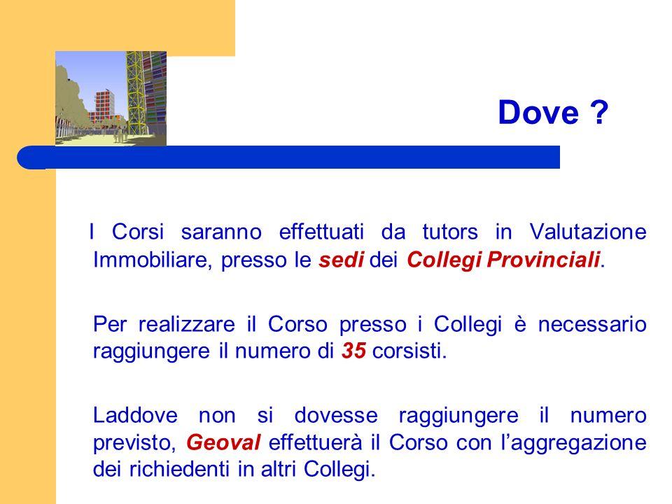 Dove I Corsi saranno effettuati da tutors in Valutazione Immobiliare, presso le sedi dei Collegi Provinciali.