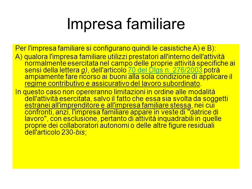 Impresa familiare Per l impresa familiare si configurano quindi le casistiche A) e B):