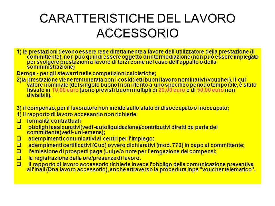 CARATTERISTICHE DEL LAVORO ACCESSORIO