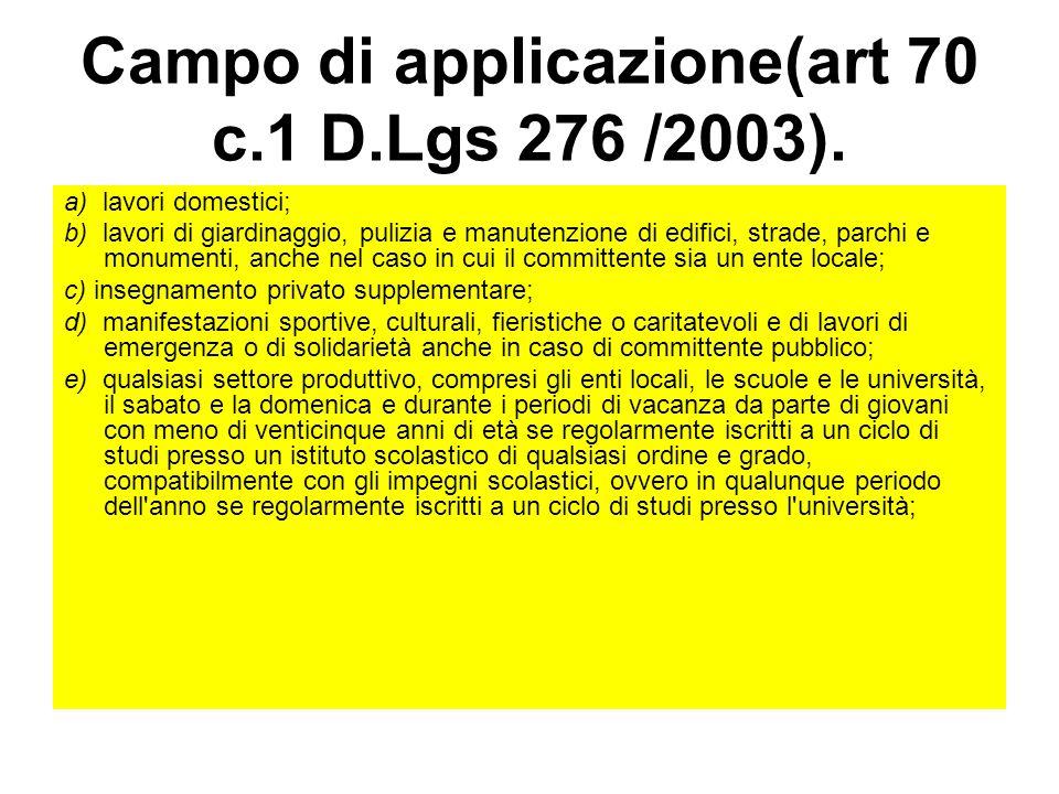 Campo di applicazione(art 70 c.1 D.Lgs 276 /2003).