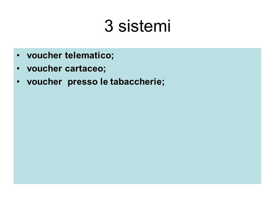 3 sistemi voucher telematico; voucher cartaceo;
