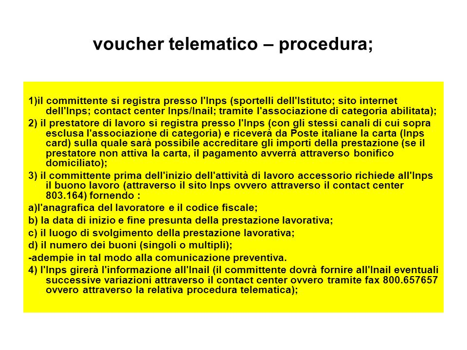 voucher telematico – procedura;