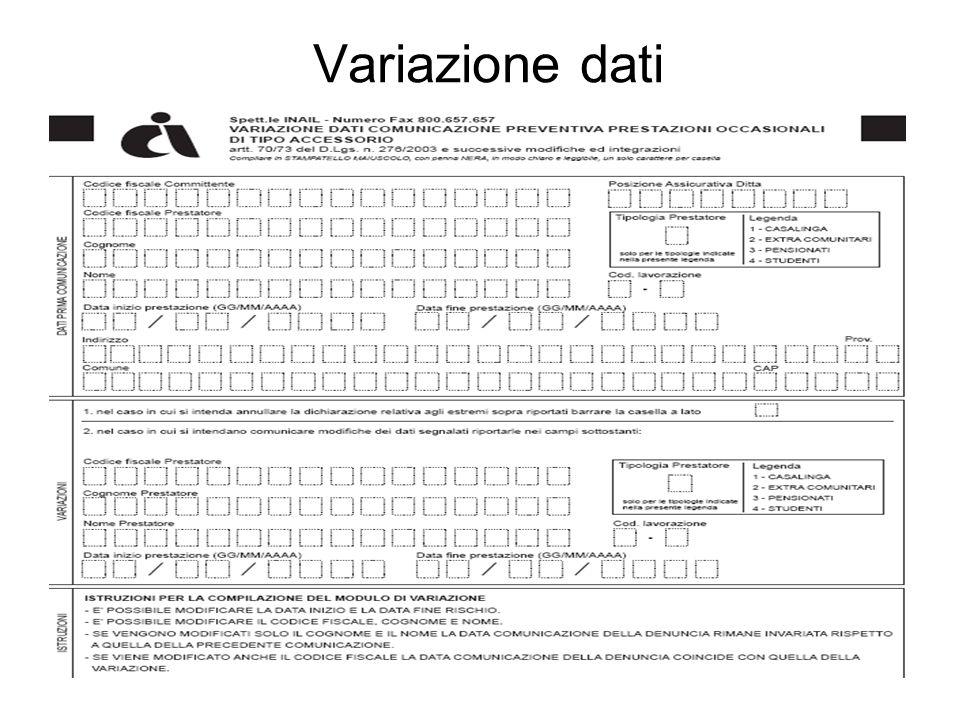 Variazione dati