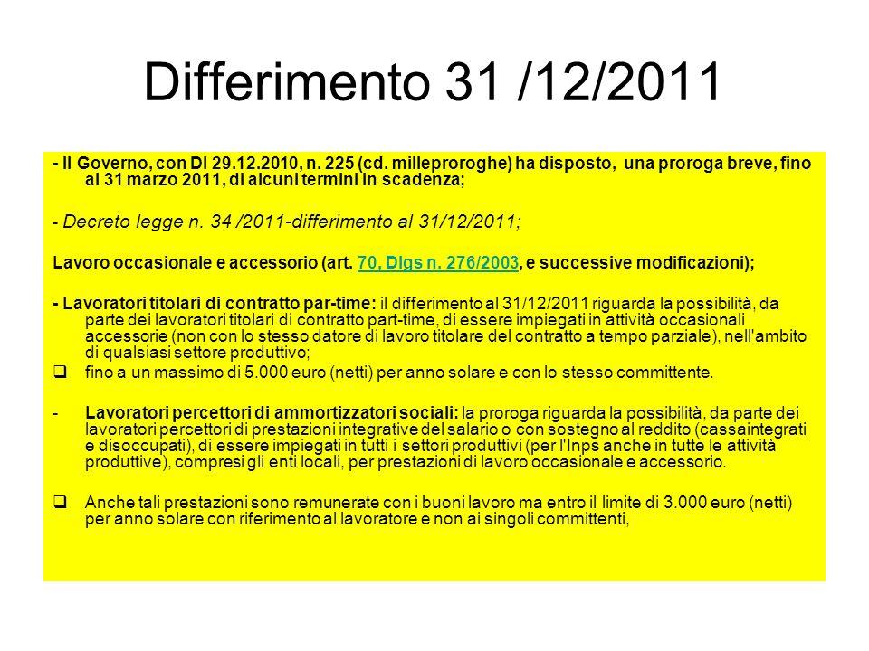 Differimento 31 /12/2011