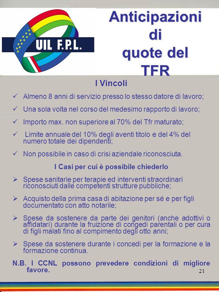 Anticipazioni di quote del TFR