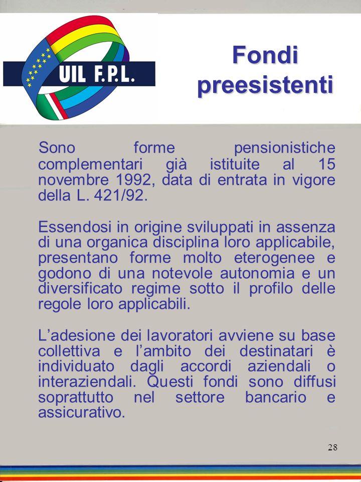 Fondi preesistenti Sono forme pensionistiche complementari già istituite al 15 novembre 1992, data di entrata in vigore della L. 421/92.