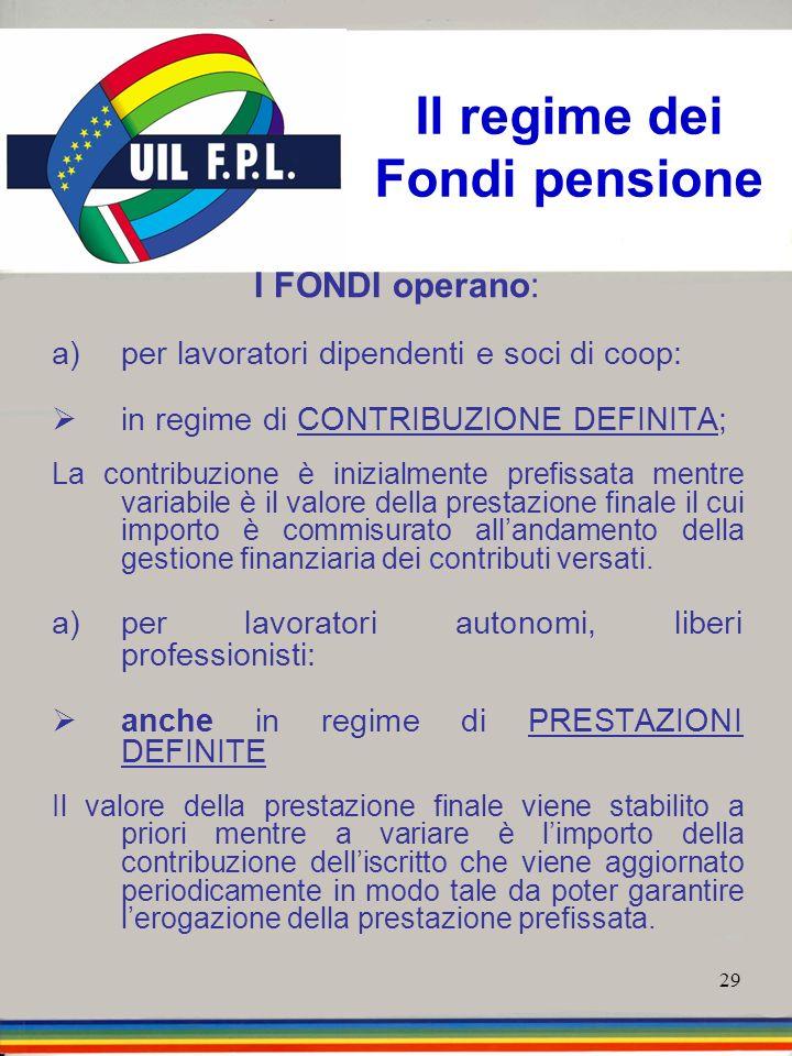 Il regime dei Fondi pensione
