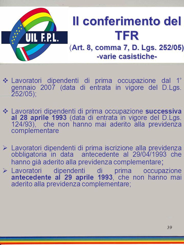 Il conferimento del TFR (Art. 8, comma 7, D. Lgs