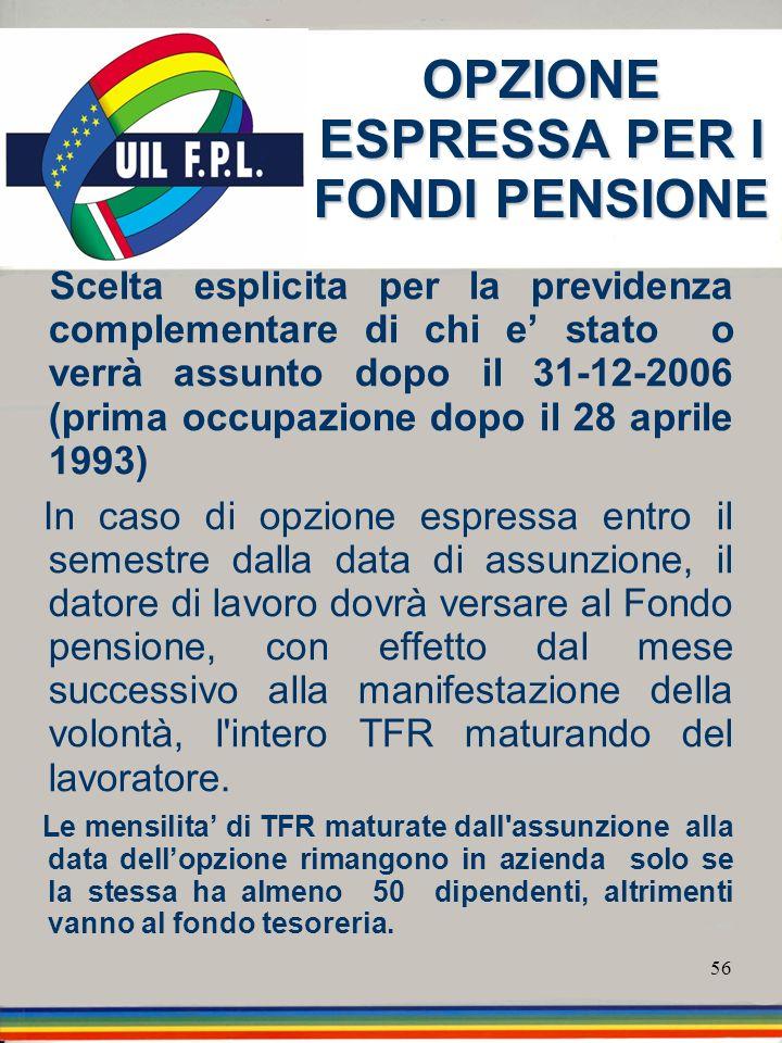 OPZIONE ESPRESSA PER I FONDI PENSIONE