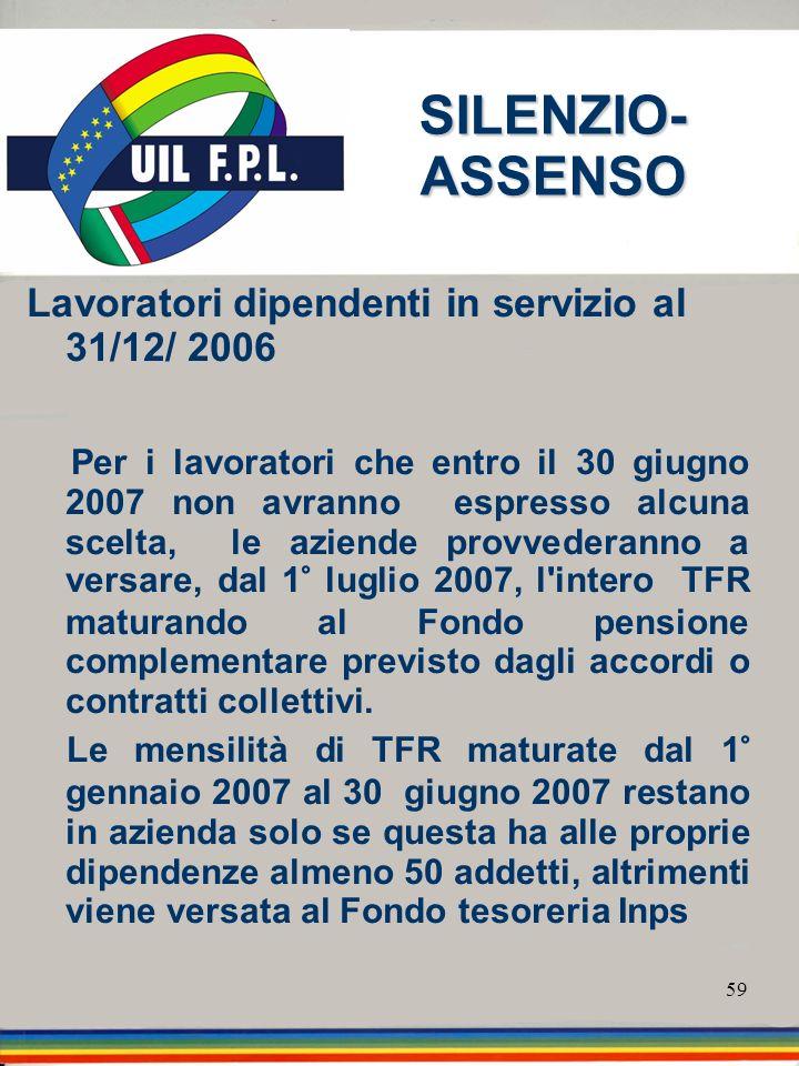 SILENZIO-ASSENSO Lavoratori dipendenti in servizio al 31/12/ 2006
