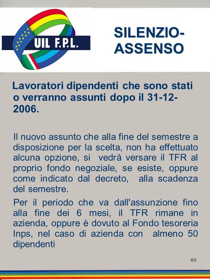 SILENZIO-ASSENSO Lavoratori dipendenti che sono stati o verranno assunti dopo il 31-12- 2006.