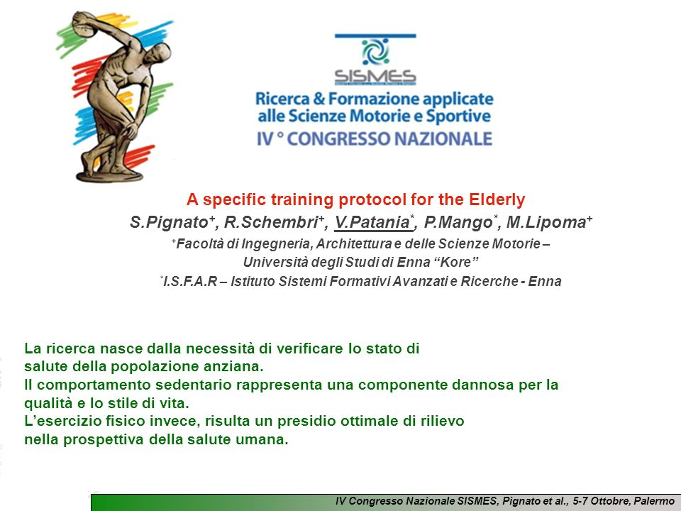 A specific training protocol for the Elderly