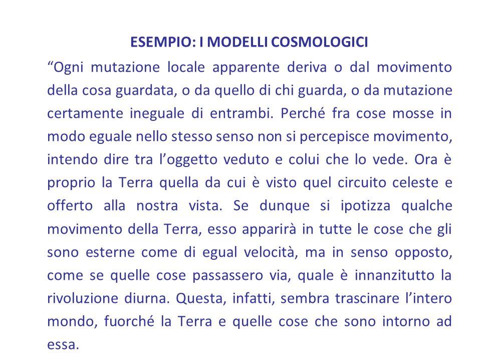 ESEMPIO: I MODELLI COSMOLOGICI