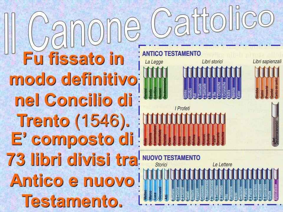 E' composto di 73 libri divisi tra Antico e nuovo Testamento.