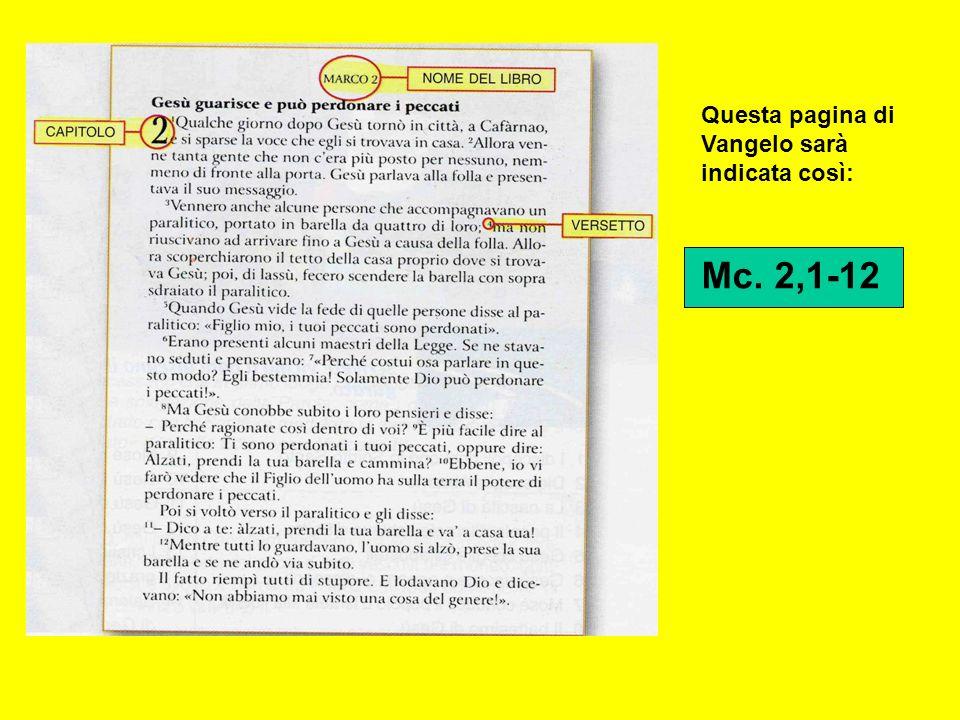 Questa pagina di Vangelo sarà indicata così: