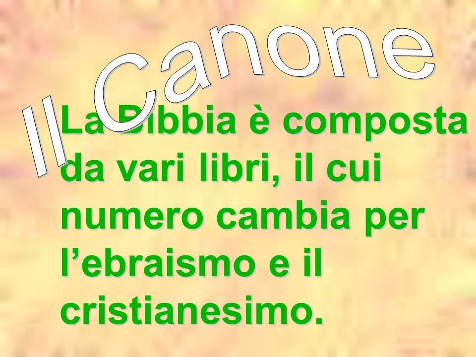 Il Canone La Bibbia è composta da vari libri, il cui numero cambia per l'ebraismo e il cristianesimo.
